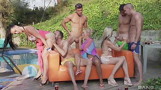 Julia Pink adores group sex outside with Lana Vegas and horny neighbors