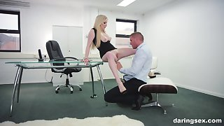 Georgie Lyall adores rough fuck with her colleague in her office