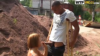 Redhead Tata sucks huge coal-black dick in public, enjoying crimson deep and hard