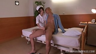 Slender Japanese nurse rides a huge boner cowgirl airs after giving a blowjob