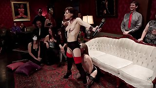 Alice March and Audrey Beanfeast are among the subs at a BDSM bandeau