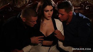 Erotic MMF threesome with nice ass increased by fat natural tits Valentina